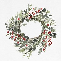 Holly Farmhouse Wreath II Fine Art Print
