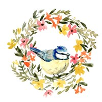 Springtime Wreath & Bird I Framed Print