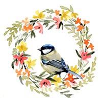 Springtime Wreath & Bird II Framed Print