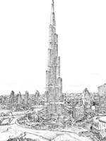 Dubai in Black & White II Fine Art Print