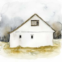 White Barn Watercolor I Framed Print