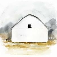 White Barn Watercolor II Framed Print