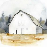 White Barn Watercolor III Framed Print