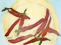 Peppers on a Plate II Framed Print