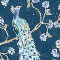 Peacock Allegory III Blue v2 Framed Print