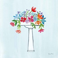 Floral Bathroom II Light Blue Fine Art Print