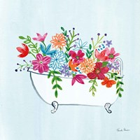 Floral Bathroom I Light Blue Fine Art Print