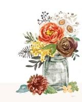 Flower Fest V Green Jar Framed Print