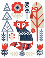 Folk Lodge Fox Red Navy Framed Print