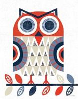 Folk Lodge Owl Red Navy Framed Print
