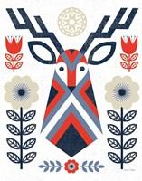 Folk Lodge Deer II Red Navy Framed Print