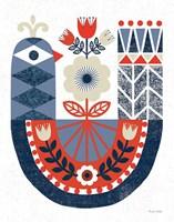 Folk Lodge Bird Red Navy Framed Print