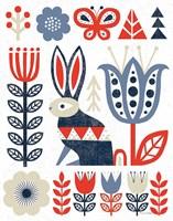 Folk Lodge Rabbit Red Navy Framed Print