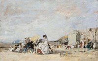Lady in White on the Beach at Trouville Fine Art Print