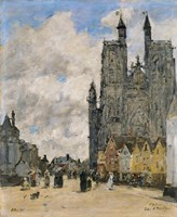 The Square of the Church of Saint Vulfran in Abbeville Fine Art Print