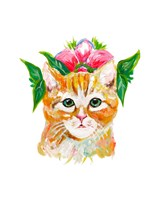 Cat with Flower Crown Fine Art Print