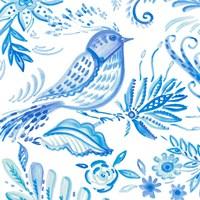 Birds in Blue I Fine Art Print