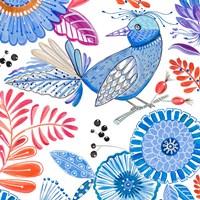 Bird with Flowers II Fine Art Print