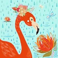 Flamingo in the Rain Fine Art Print