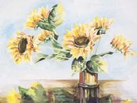 Sunflowers on Golden Vase Fine Art Print