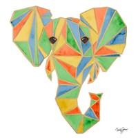 Vibrant Retro Elephant Fine Art Print