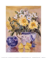 Sunflowers and Blue China Fine Art Print