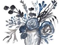 Blue Roses in Grey Vase Fine Art Print
