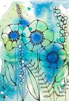 Blue Watercolor Wildflowers I Fine Art Print