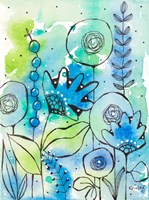 Blue Watercolor Wildflowers II Framed Print