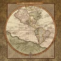 Damask World Map I Fine Art Print