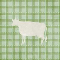 Farm Cow on Plaid Framed Print