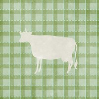 Farm Cow on Plaid Fine Art Print