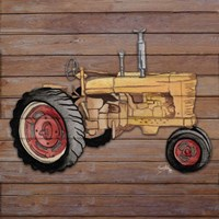Tractor on Wood I Framed Print