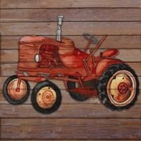 Tractor on Wood II Framed Print