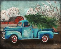 Blue Truck and Tree I Framed Print