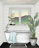Modern Black and White Bath I Fine Art Print