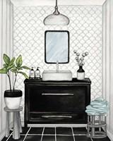 Modern Black and White Bath II Fine Art Print