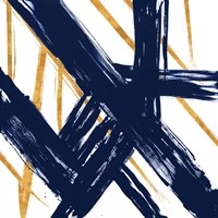 Navy with Gold Strokes III Fine Art Print