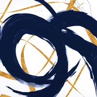 Navy with Gold Strokes II Fine Art Print