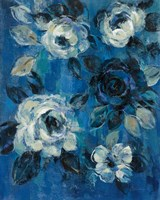 Loose Flowers on Blue II Fine Art Print