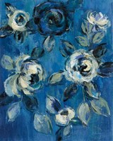 Loose Flowers on Blue I Fine Art Print