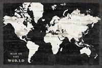 World Map Black Fine Art Print