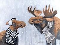 Winter Moose Kisses Fine Art Print