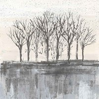 Trees at Dawn II Neutral Fine Art Print