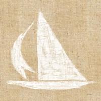 Driftwood Coast II White Burlap Framed Print