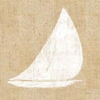 Driftwood Coast I White Burlap Framed Print
