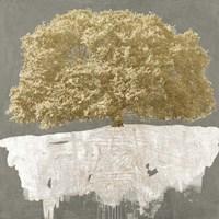 Golden Tree on Grey Fine Art Print