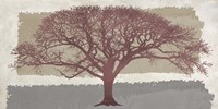 Burgundy Tree on abstract background Fine Art Print