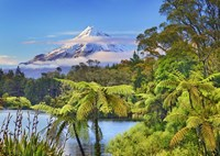 Taranaki Mountain and Lake Mangamahoe, New Zealand Fine Art Print