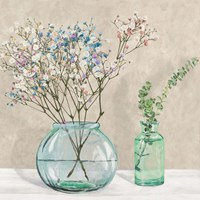 Floral Setting with Glass Vases I Fine Art Print